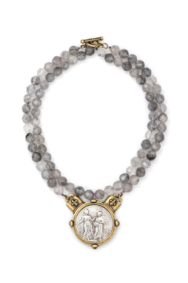 DOUBLE STRAND FACETED CLOUDY QUARTZ WITH REPUBLIQUE MEDALLION