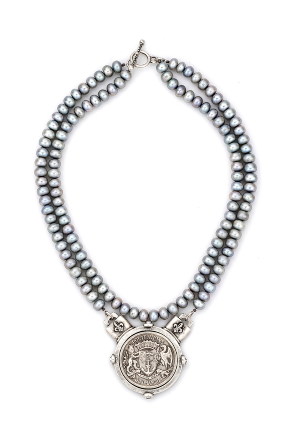 DOUBLE STRAND SILVER PEARLS WITH PORTE AVION MEDALLION