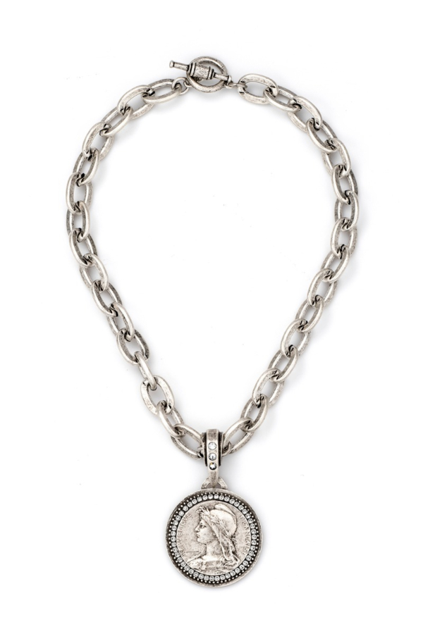 LOURDES CHAIN WITH CHEMINS MEDALLION AND SWAROVSKI