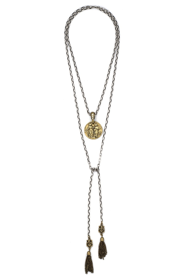 ADJUSTABLE ALSACE CHAIN WITH REPUBLIQUE MEDALLION, FDL PENDANTS AND TASSELS