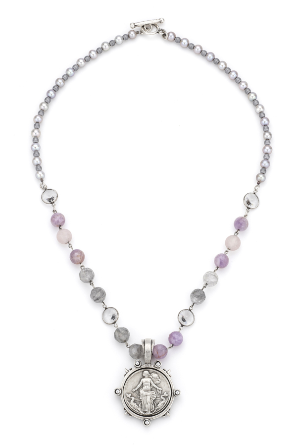 LAVENDER MIX WITH SILVER WIRE, SWAROVSKI ACCENTS, SILVER PEARLS AND LE HAVRE MEDALLION