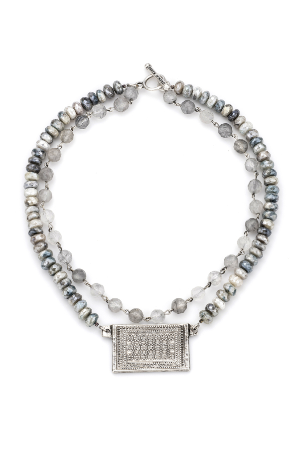 DOUBLE STRAND CLOUDY QUARTZ WITH SILVER WIRE, FACETED SILVERITE AND ROUEN-TAPIS MEDALLION