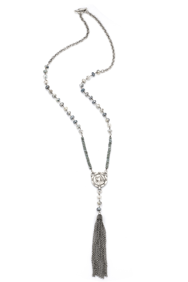 SILVERITE WITH SILVER WIRE AND LABRADORITE, PETITE JOAN MEDALLION AND TASSEL