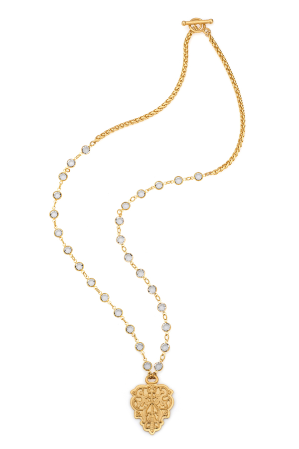 SWAROVSKI AND CHEVAL CHAIN WITH FRENCH FILIGREE PENDANT
