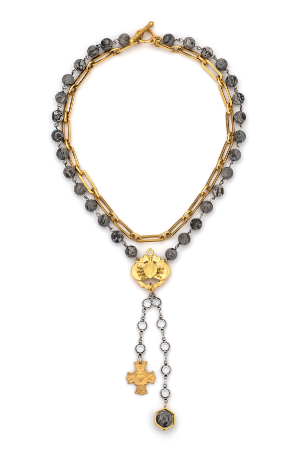 DOUBLE STRAND MATISSE JASPER AND VERSAILLES CHAIN, IMMACULATE HEART AND IMMACULE' PENDANTS WITH SWAROVSKI DROP