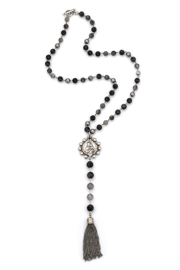 SLATE MIX WITH SILVER WIRE, CROWNING MARY MEDALLION AND TASSEL