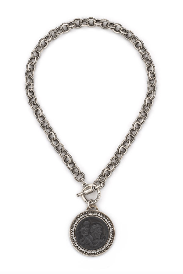 PROVENCE CHAIN WITH GRAPHITE ST. CHRISTOPHER MODERN MEDALLION AND SWAROVSKI