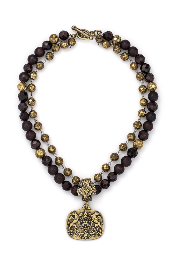DOUBLE STRAND D'OR GARNET MIX AND GOLDEN DRUZY WITH SILVER WIRE AND MOLLIARD MEDALLION