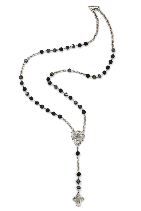 NUIT MIX WITH SILVER WIRE, CHAIN, FRENCH FILIGREE PENDANT AND LOURDES CROSS