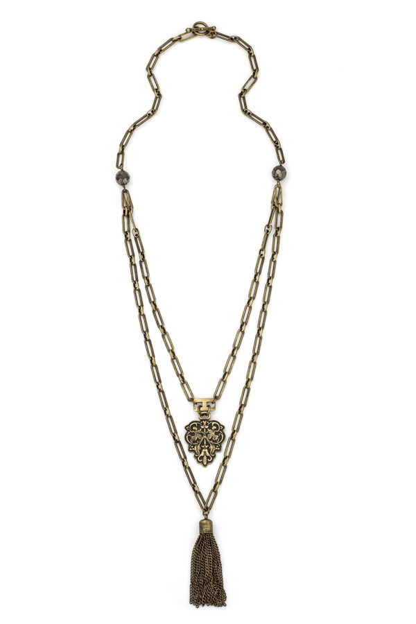 DOUBLE STRAND VERSAILLES CHAIN WITH PYRITE, FILIGRANE PENDANT AND TASSEL