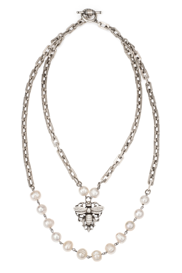 PEARLS WITH SILVER WIRE, HONFLEUR CHAIN AND FILIGREE MIEL STACK PENDANT