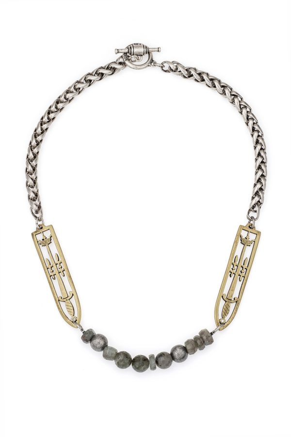 CHEVAL CHAIN WITH SWORD & CROWN PENDANTS AND MOONLIGHT MIX