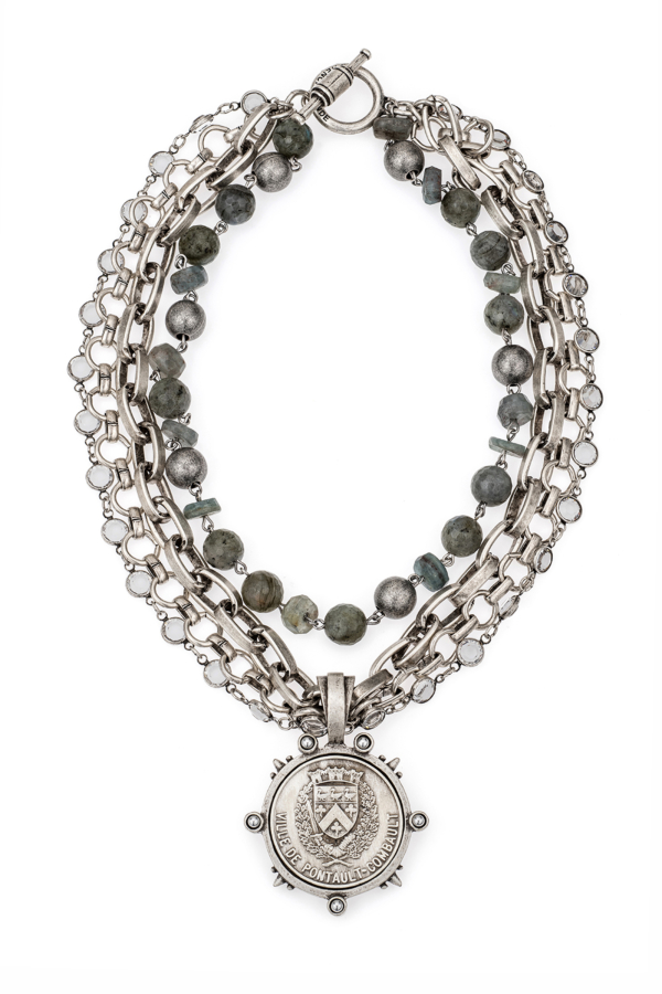 FOUR STRAND SWAROVSKI, MOONLIGHT MIX AND CHAINS WITH VOYAGEUR MEDALLION
