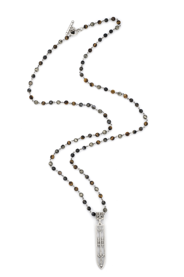 CHARBON MIX WITH SILVER WIRE AND SWORD & CROWN PENDANT