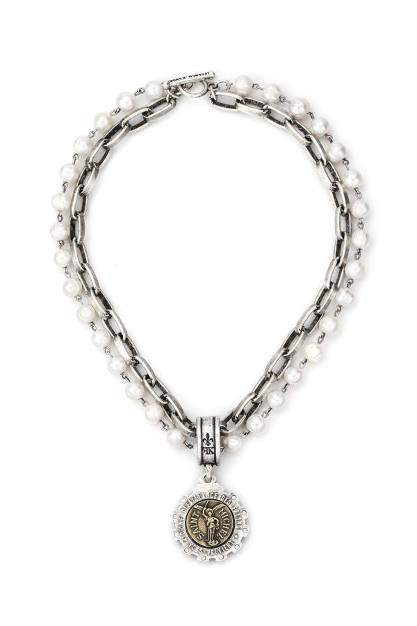 DOUBLE STRANDED PEARLS AND LYON CHAIN WITH MINI SAINT MICHEL MEDALLION