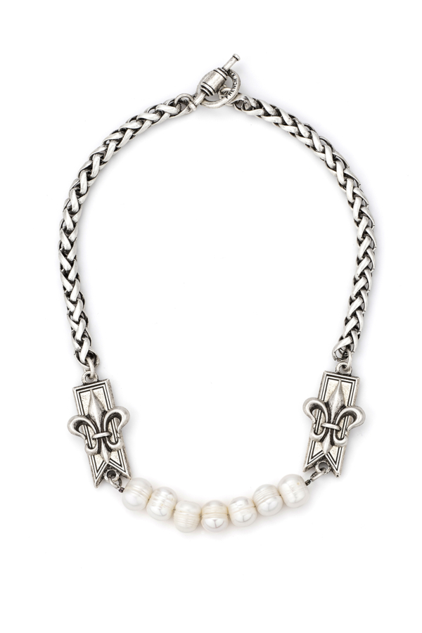 CHEVAL CHAIN WITH BAR FLEUR STACK PENDANTS AND PEARLS