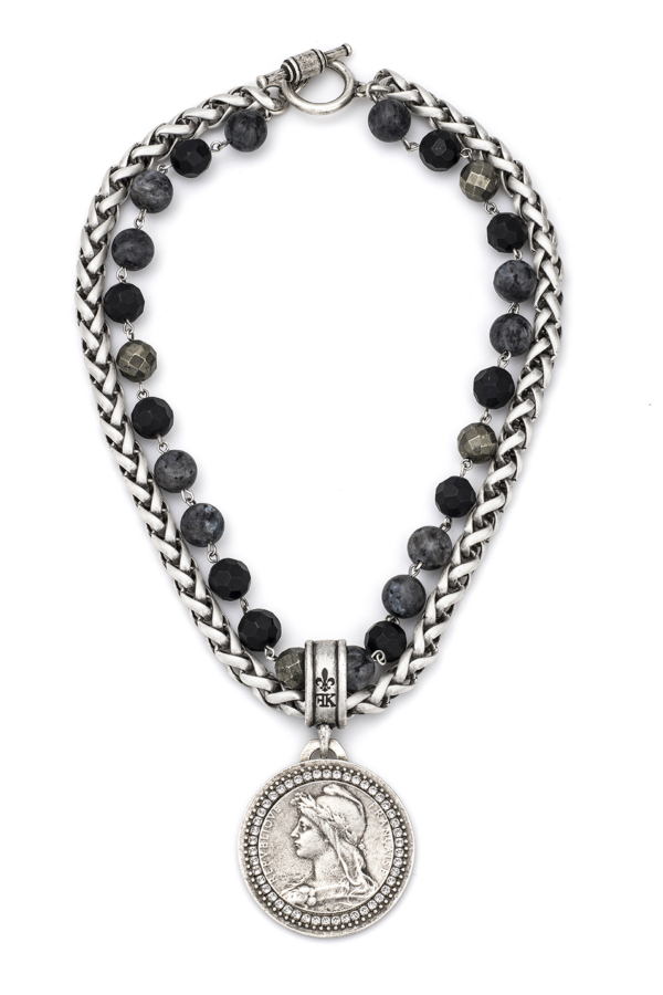 DOUBLE STRAND NIGHTFALL MIX AND CHAIN WITH CHEMINS MEDALLION
