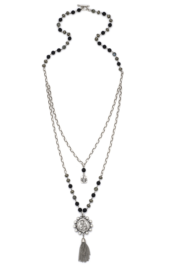 DOUBLE STRAND NIGHTFALL MIX WITH SILVER WIRE, ALSACE CHAIN, CROWNING MARY MEDALLION AND TASSEL