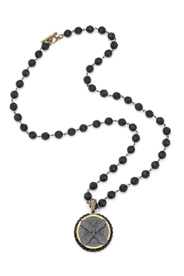 BLACK ONYX WITH BRASS WIRE, CUVEE B MEDALLION AND JET SWAROVSKI