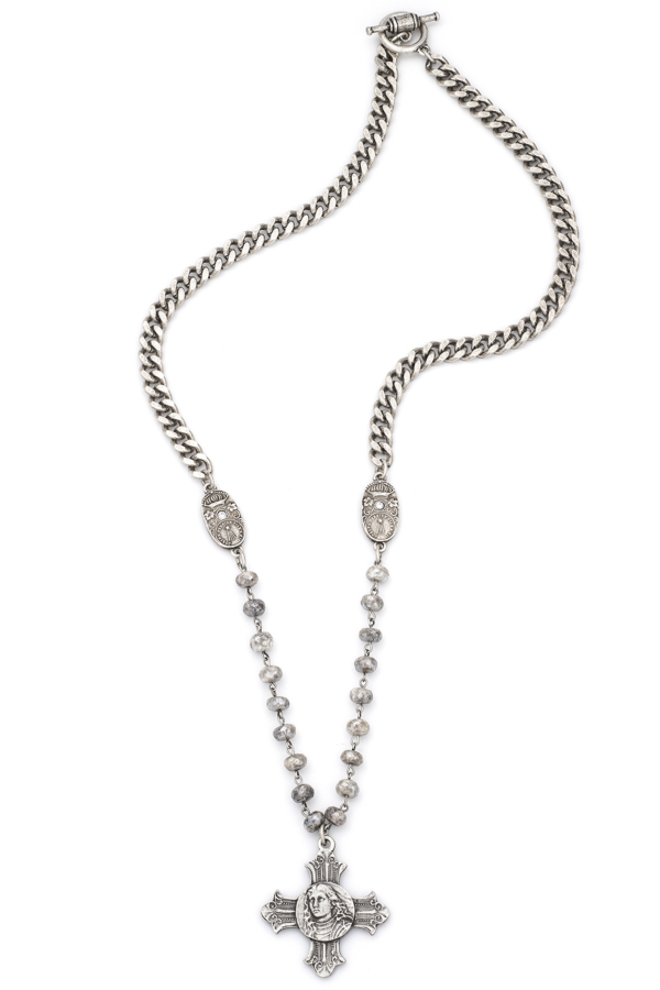 BEVEL CHAIN AND SILVERITE WITH SILVER WIRE, SWAROVSKI CUVEE PENDANTS AND LA TREILLE MEDALLION
