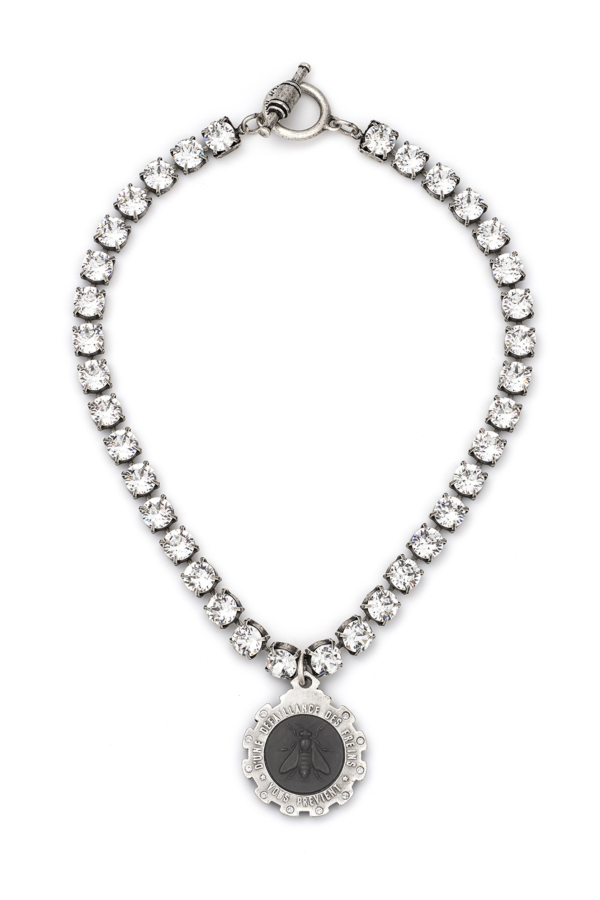 SWAROVSKI WITH GRAPHITE MINI ABEILLE MEDALLION