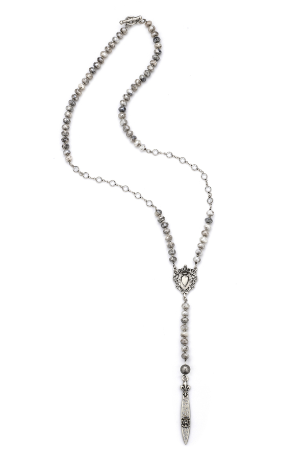 SILVERITE AND HEISHI, SWAROVSKI, HEART FOB AND SWAROVSKI POINTU PENDANT