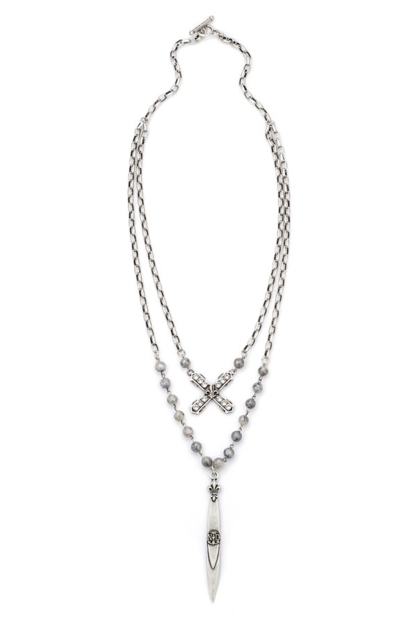 DOUBLE STRAND SILVERITE WITH SILVER WIRE, ALSACE CHAIN, SWAROVSKI FRENCH KISS AND POINTU PENDANT