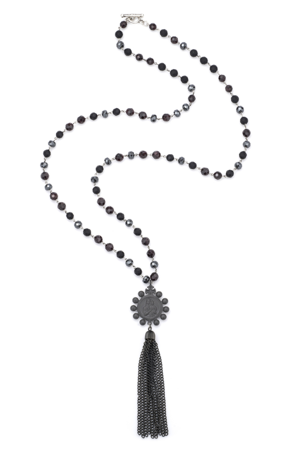 NIGHT TIDE MIX WITH SILVER WIRE, GRAPHITE CROWNING MARY MEDALLION AND TASSEL