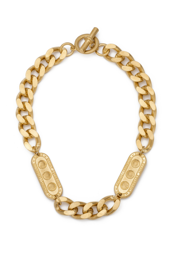 BEVEL CHAIN WITH TWIN LILLE MEDALLIONS
