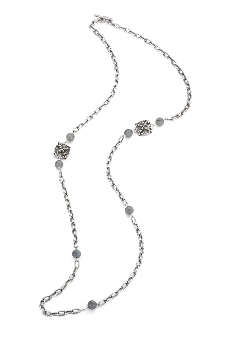 ELONGATED CABLE CHAIN WITH SANDBLAST LABRADORITE ACCENTS AND X MEDALLIONS