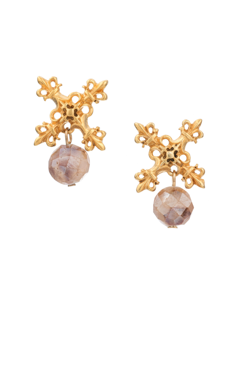 GOLD X EARRINGS WITH APRICOT DRUZY DANGLE