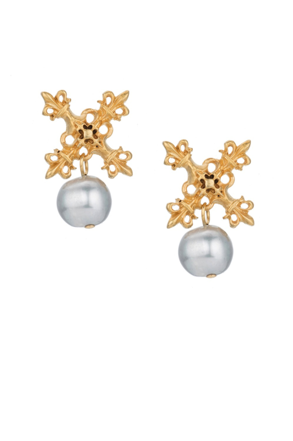 GOLD X EARRINGS WITH SILVER PEARL DANGLE