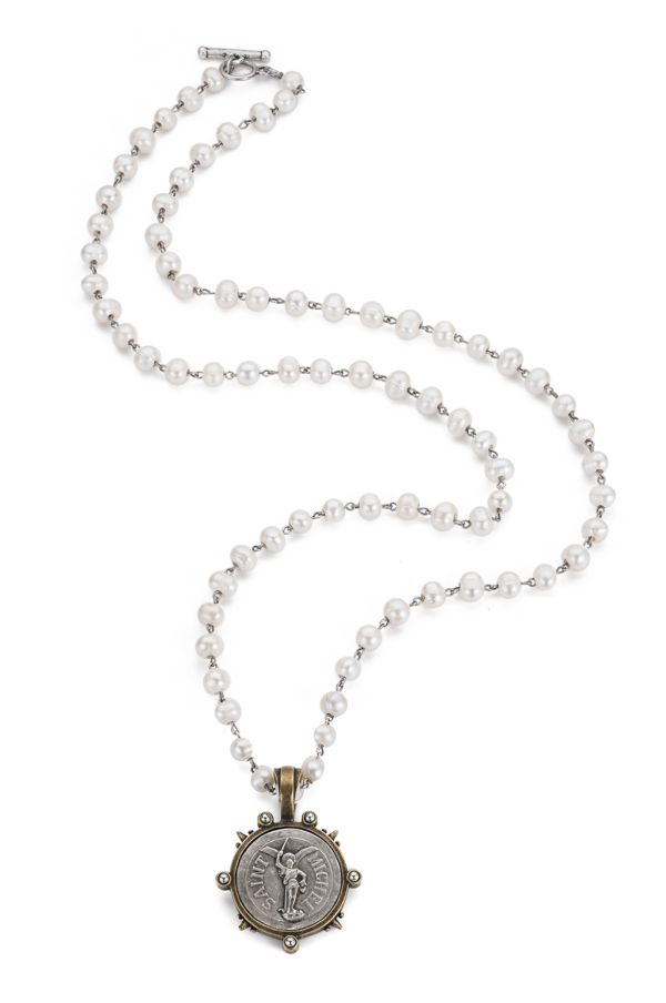 PEARLS WITH SILVER WIRE AND ST. MICHEL MEDALLION