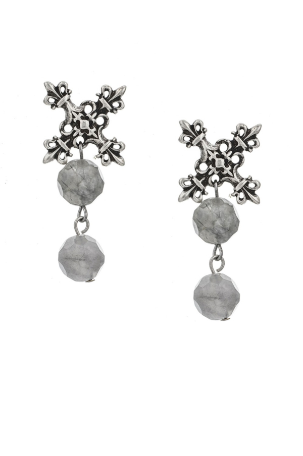 X EARRINGS WITH DOUBLE FACETED CLOUDY QUARTZ DANGLES