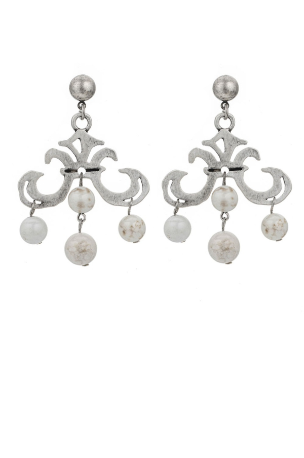 GRAND FLEUR EARRINGS WITH WHITE TURQUOISE DANGLES