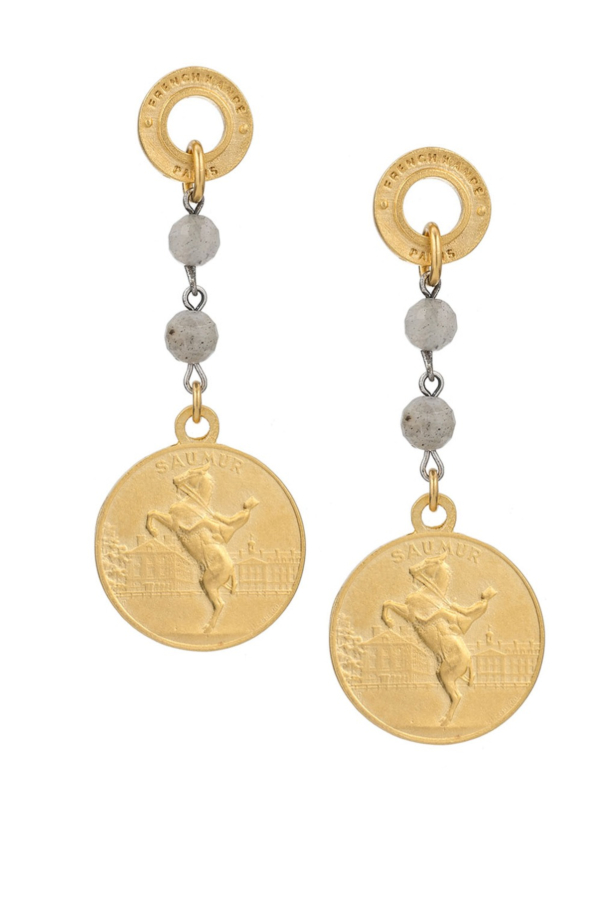 ANNECY LABRADORITE EARRINGS WITH CHOICE OF MEDALLION GOLD