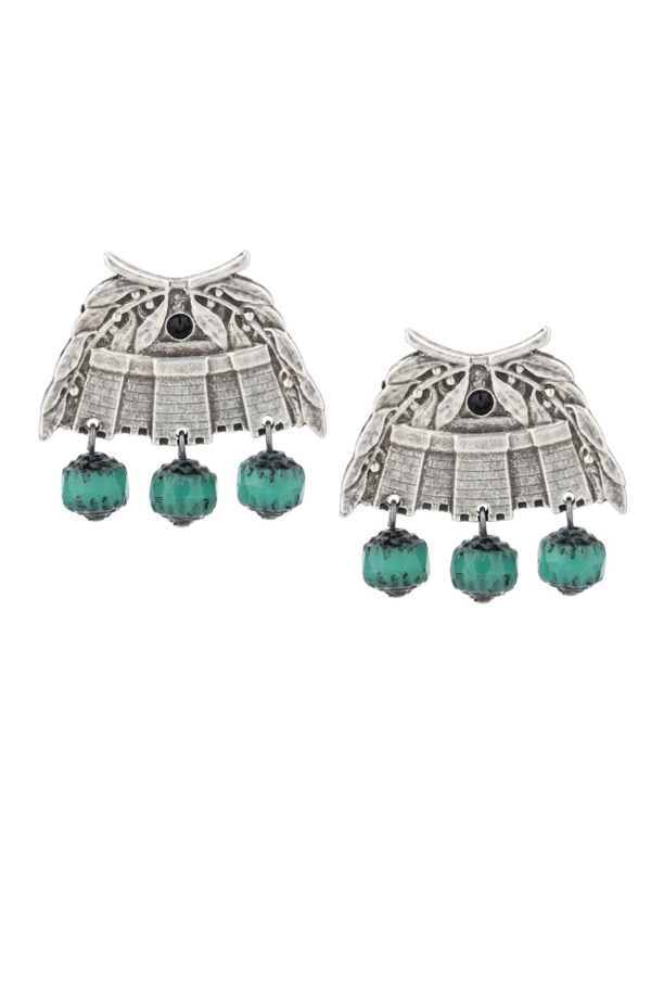 CHATEAU EARRINGS WITH TURQUOISE CRYSTAL DANGLES