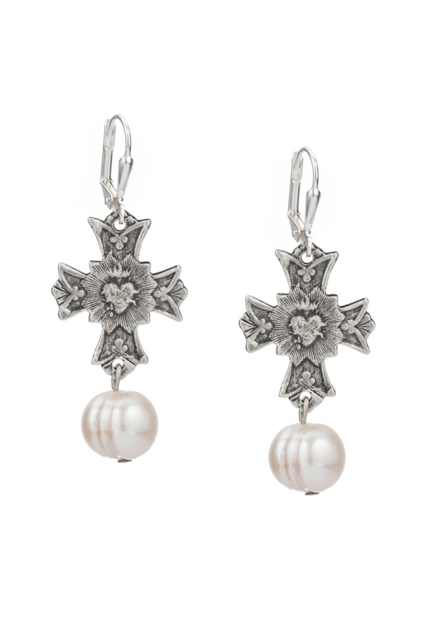 IMMACULE EARRINGS WITH WHITE PEARL DANGLE