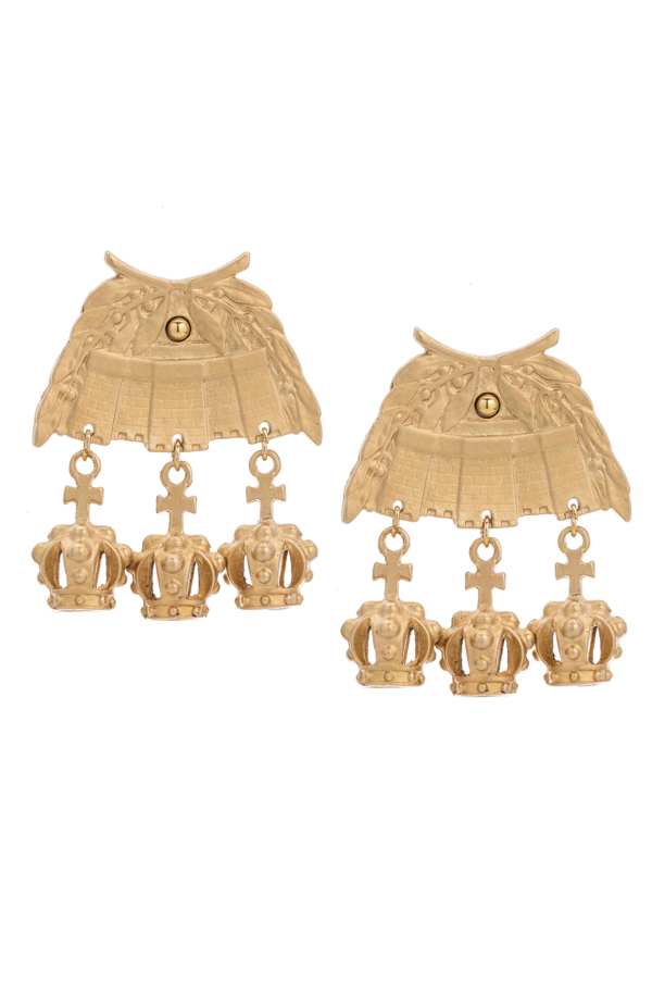 24K GOLD CHATEAU EARRINGS WITH CROWN DANGLES
