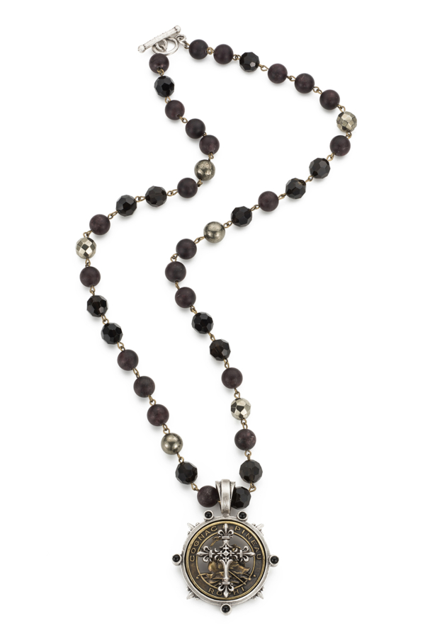 GARNET MIX WITH BRASS WIRE AND PINEAU CROSS STACK MEDALLION