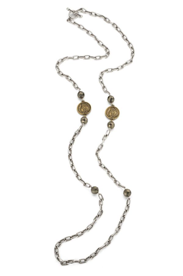 ELONGATED CHAIN WITH PYRITE ACCENTS AND MINI LOUIS MEDALLIONS