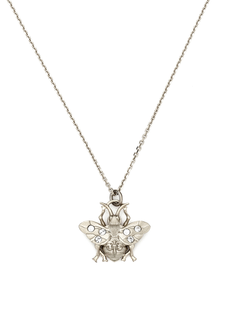 MICRO FK BEE NECKLACE SILVER