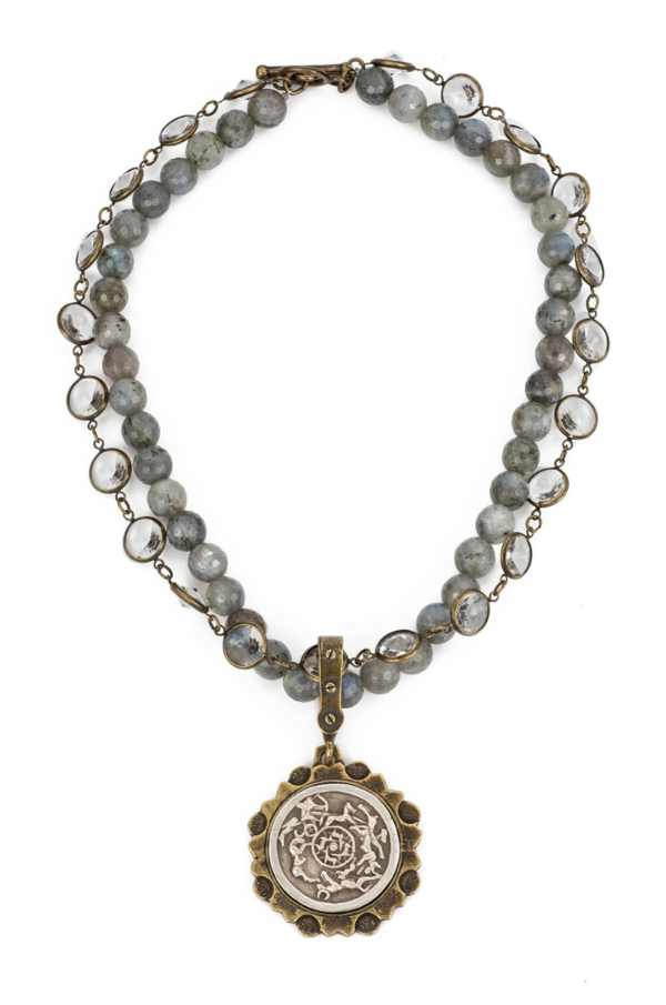 DOUBLE STRAND FACETED LABRADORITE AND SWAROVSKI WITH D'ENGINS MEDALLION