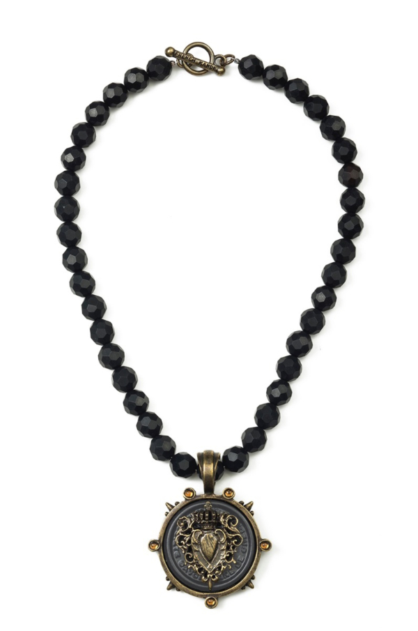 FACETED BLACK ONYX WITH CENTENNIAL HEART STACK MEDALLION