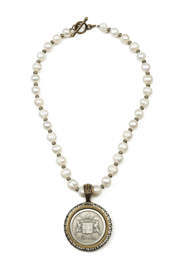 PEARLS AND PYRITE WITH CROIX MEDALLION
