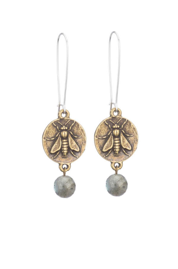 DROP EARRINGS WITH MINI ABEILLE MEDALLION AND GREY LABRADORITE