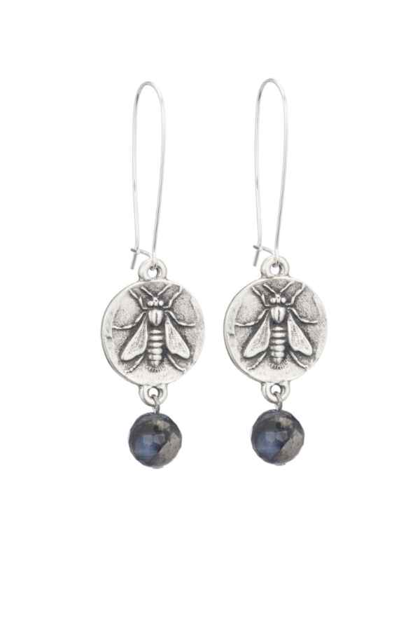 DROP EARRINGS WITH MINI ABEILLE MEDALLION AND SHADOW OPAL