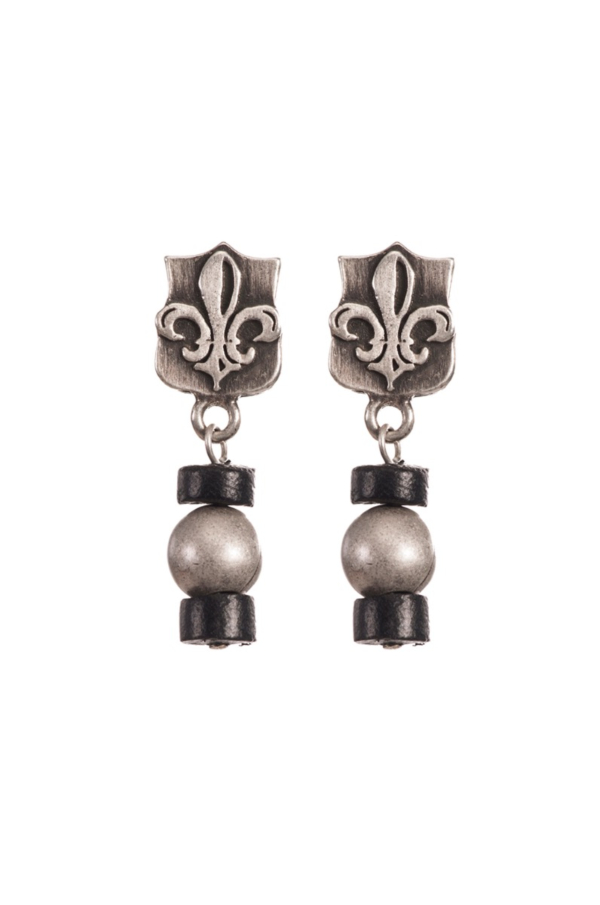 MINI FLEUR DES LIS STUDS WITH COCO SHELL AND BRASS METAL BEAD DANGLE