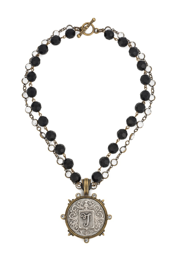 DOUBLE STRAND FACETED BLACK ONYX WITH BRASS WIRE AND SWAROVSKI WITH FLOURISH MEDALLION