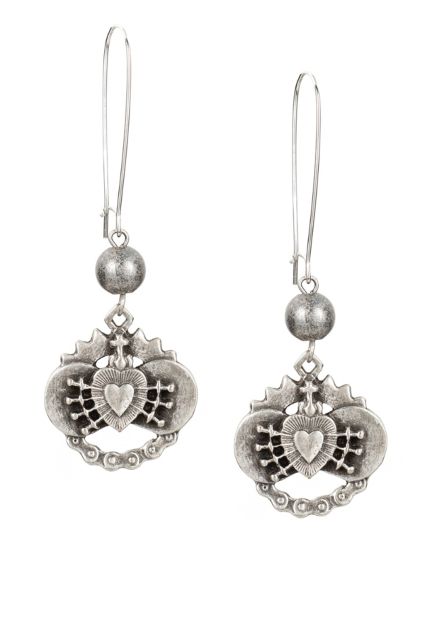 DROP EARRINGS WITH IMMACULATE HEART PENDANTS AND SILVER METAL BEAD
